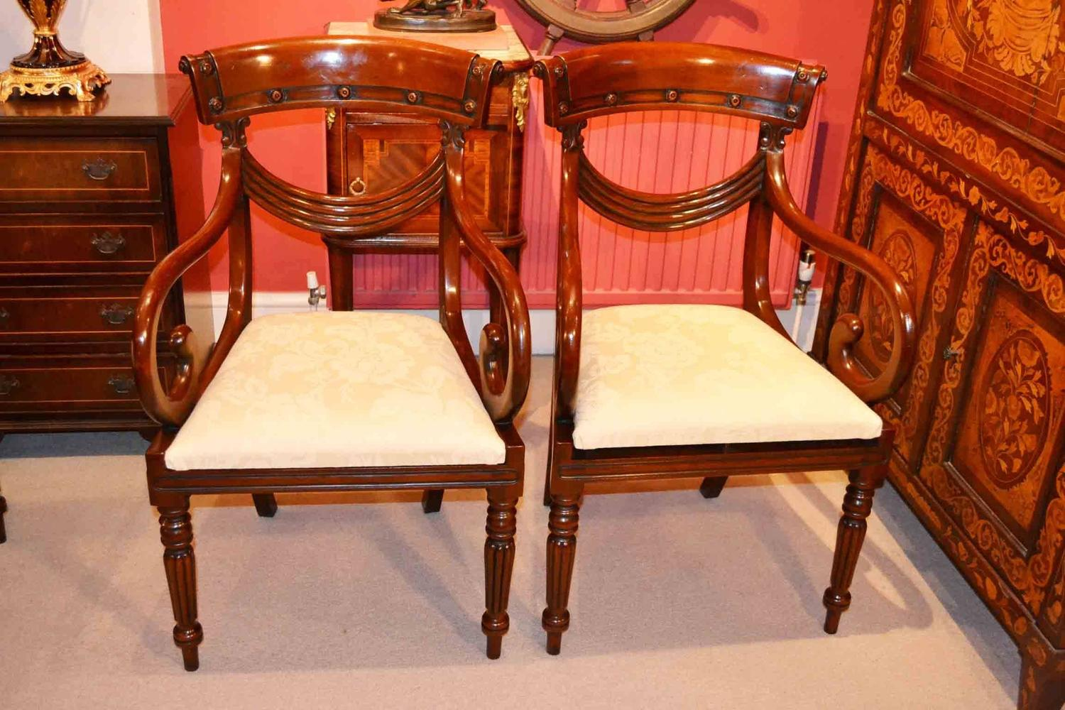 Grand set of 14 regency style drape dining chairs for sale at 1stdibs for Regency furniture living room sets