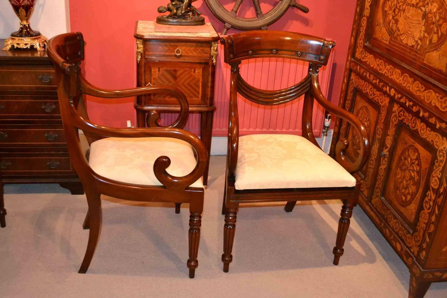 Grand Set Of 14 Regency Style Drape Dining Chairs For Sale