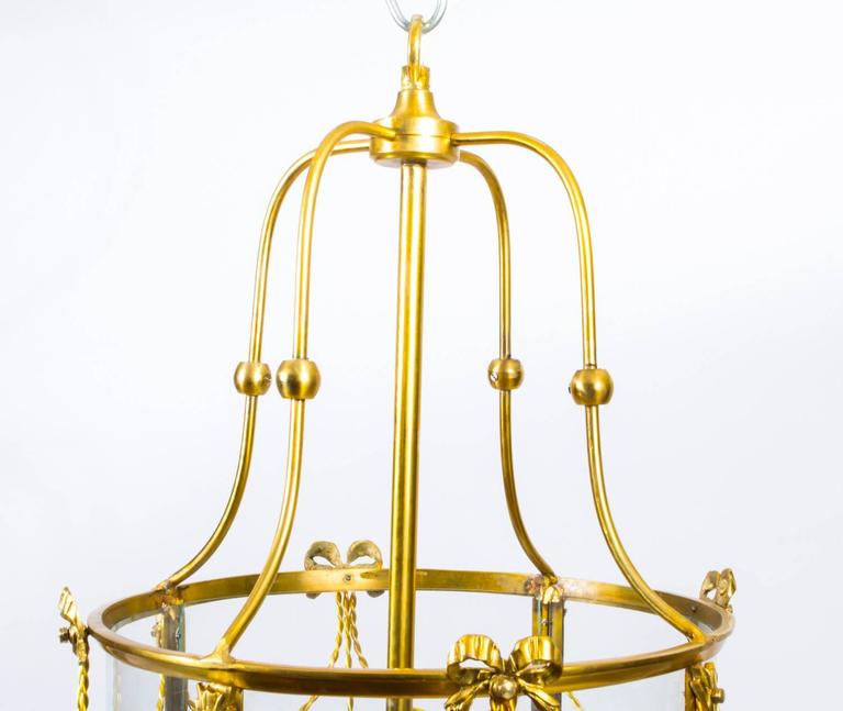 Pair Of Sheraton Style Solid Brass Circular Lanterns For