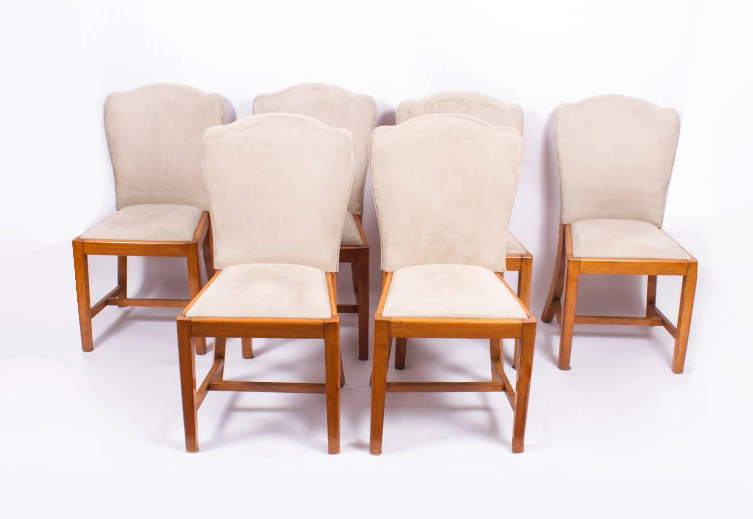 Antique Set of Six Walnut Art Deco Dining Chairs Epstein