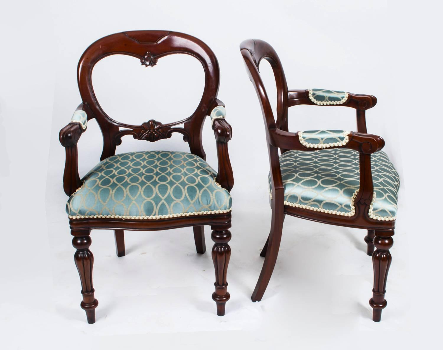 Vintage Victorian Style Balloon Back Dining Chairs Set Of