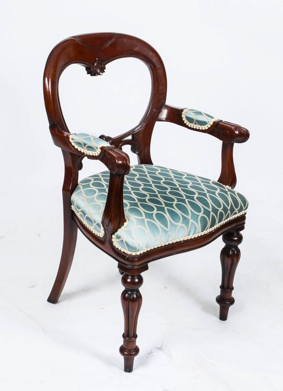 British Vintage Victorian Style Balloon Back Dining Chairs Set Of 12 For  Sale