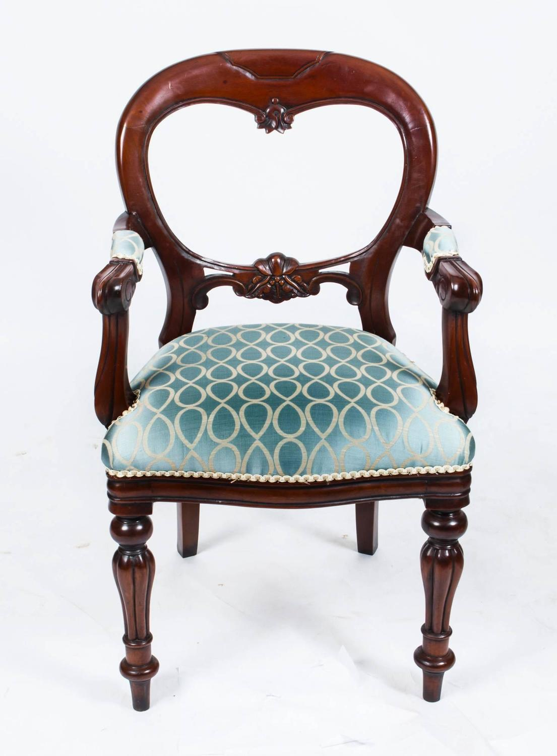 Vintage Victorian Style Balloon Back Dining Chairs Set Of 12 At 1stdibs