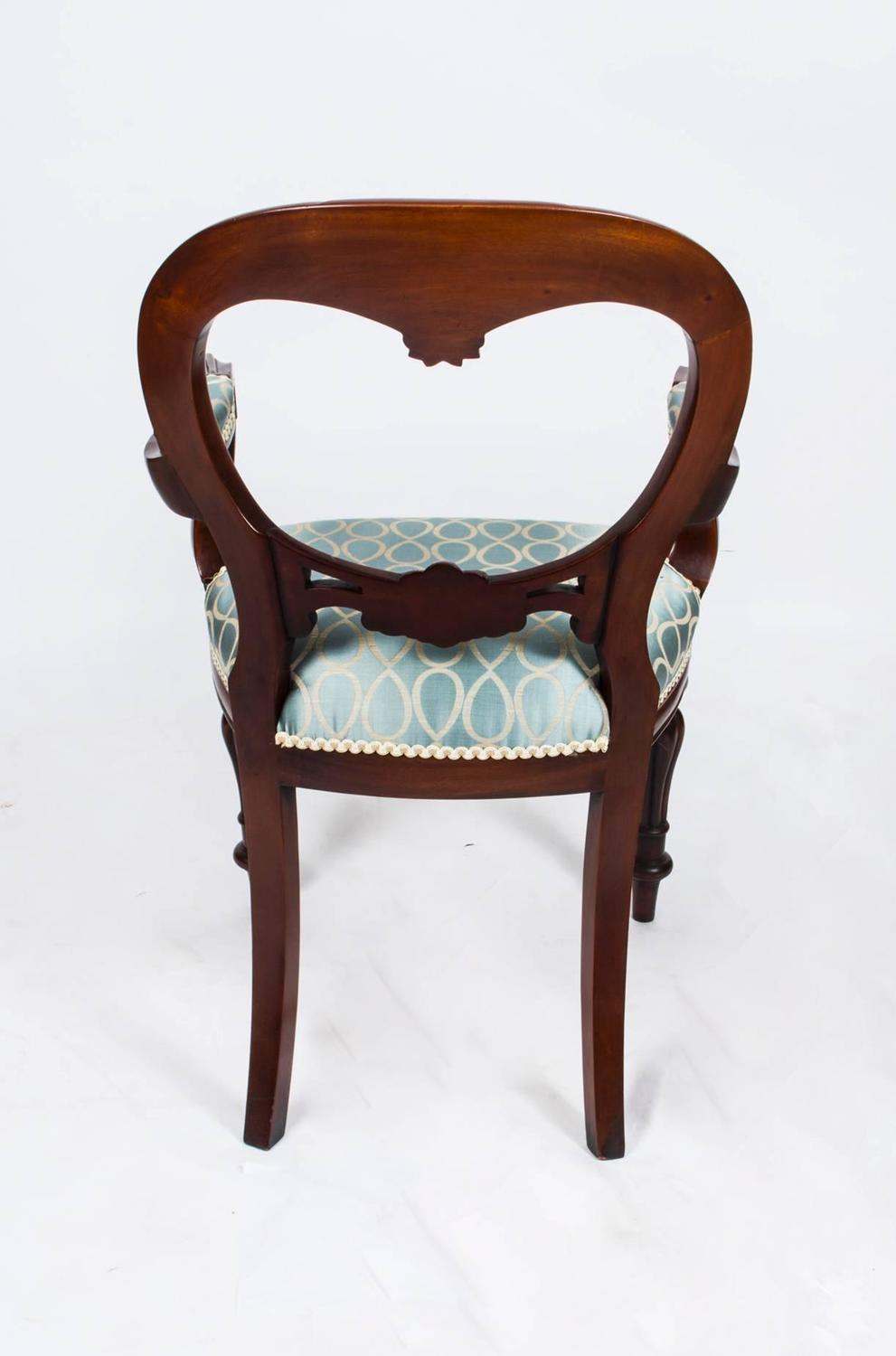 Rare set of twelve victorian solid oak leather antique chairs empire - Vintage Victorian Style Balloon Back Dining Chairs Set Of