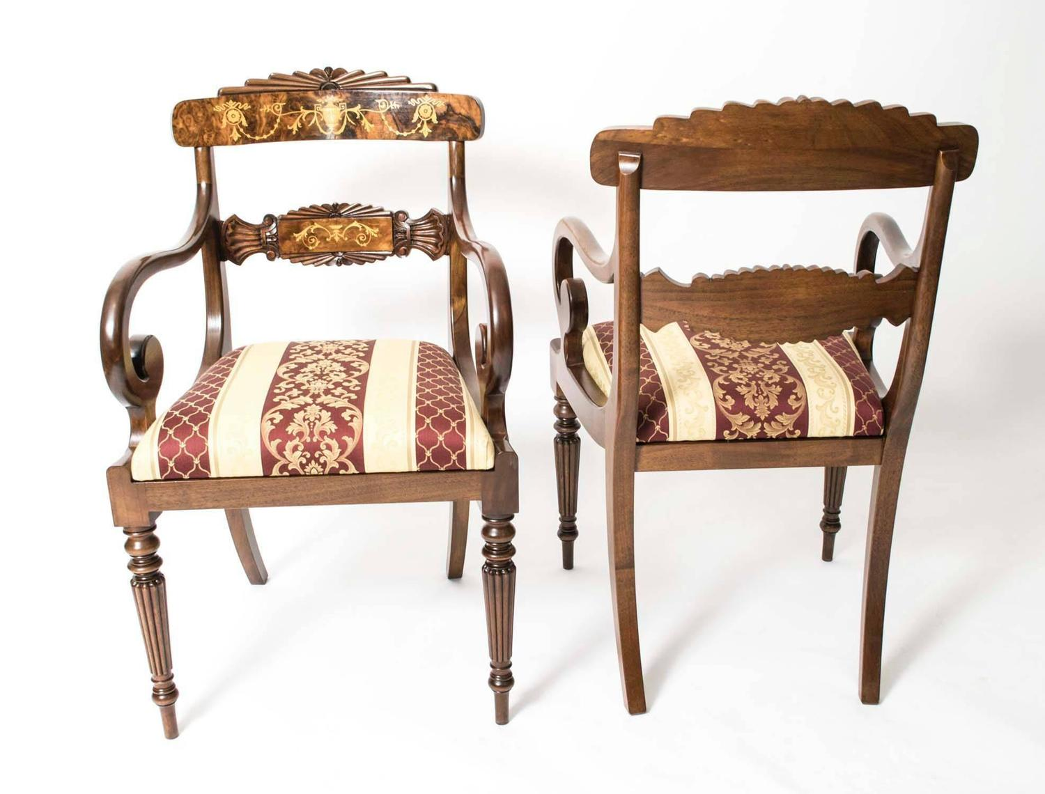 Set of eight burr walnut marquetry regency dining chairs for Regency dining room