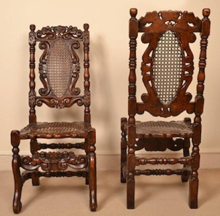 English Vintage Set of Eight Carolean Style Oak Dining Chairs