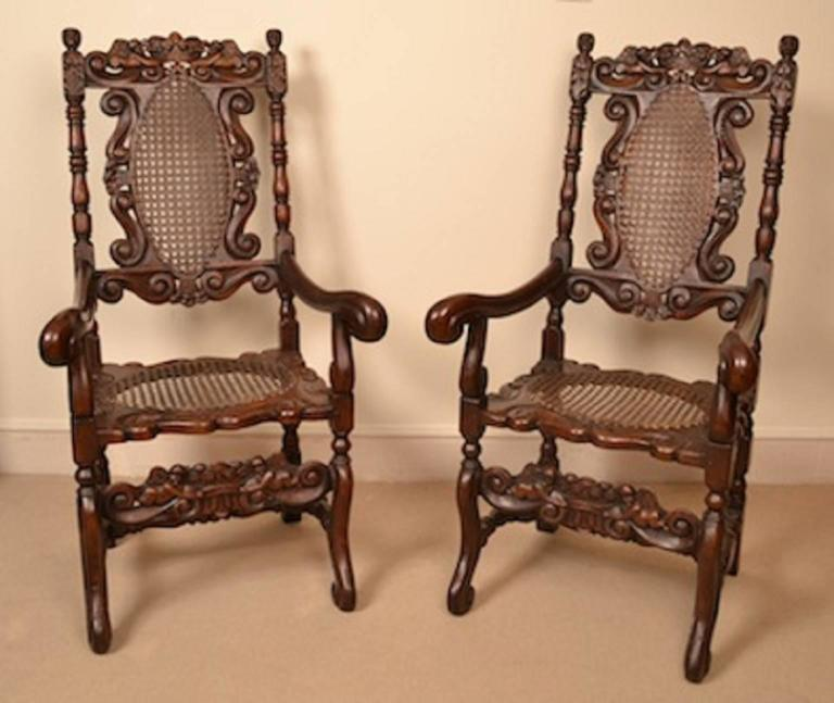 Late 18th Century Vintage Set of Eight Carolean Style Oak Dining Chairs