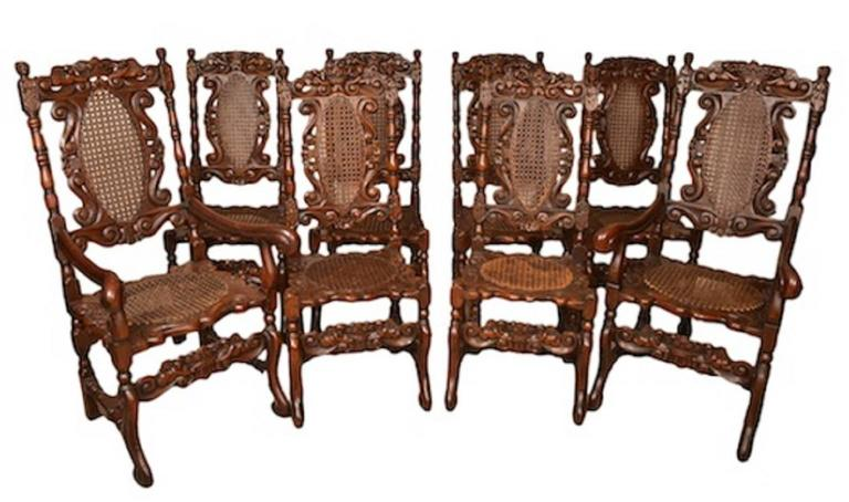 Vintage Set of Eight Carolean Style Oak Dining Chairs 5