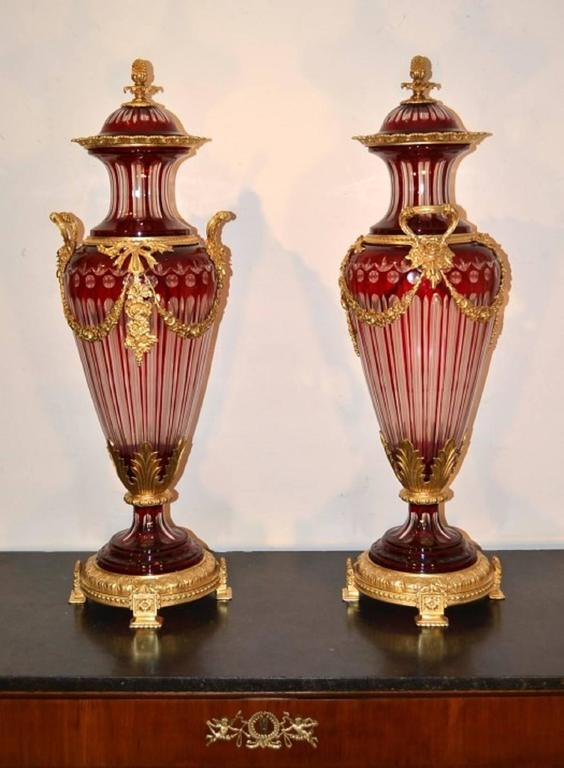 Pair Of Large Ruby Red Cut Crystal Glass Vases Ormolu Mounts At 1stdibs