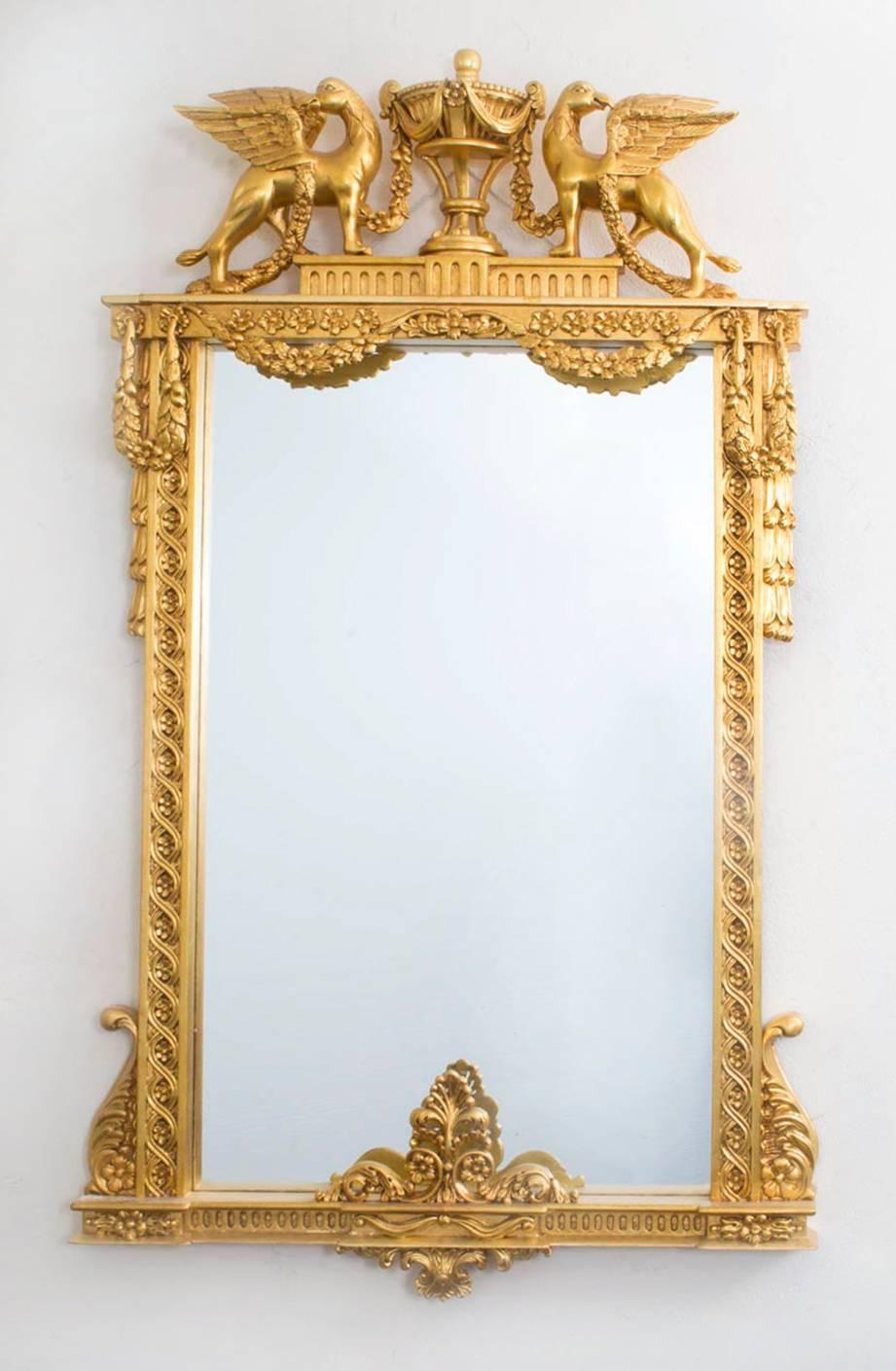 Beautiful Decorative Swedish Carved Giltwood Mirror For