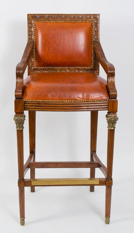 Elegant Pair Of Mahogany Leather Bar Stools Ormolu Mounts