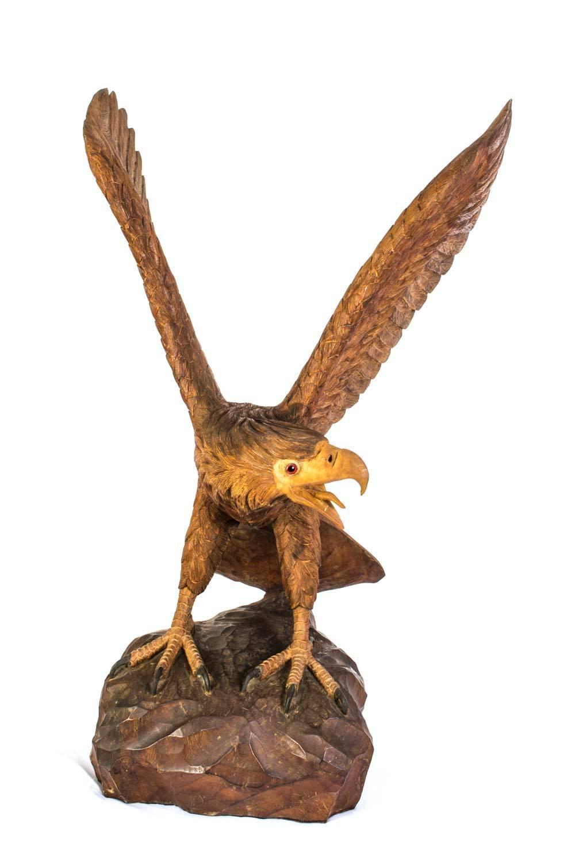 Vintage Carved Wood Eagle Sculpture For Sale At 1stdibs
