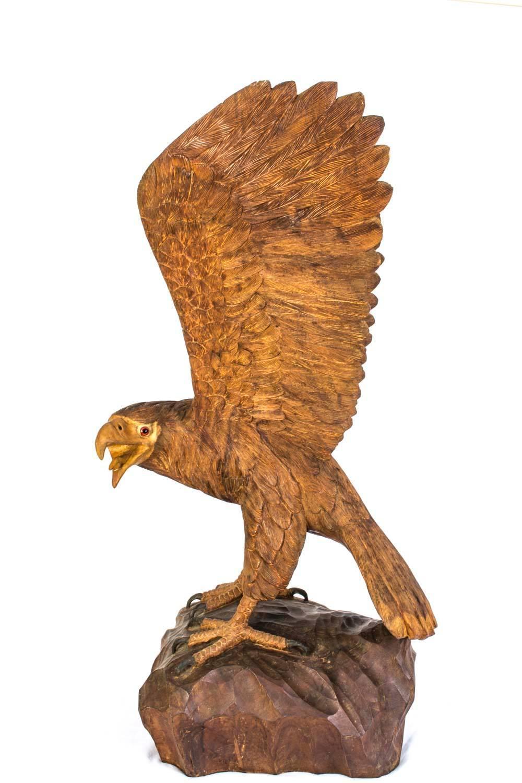 Vintage carved wood eagle sculpture for sale at stdibs