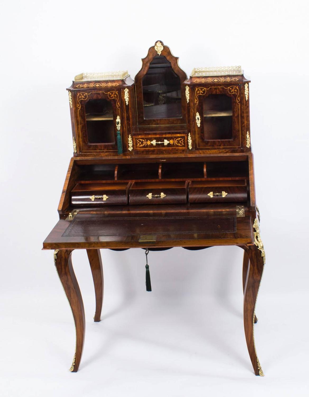 Antique victorian burr walnut inlaid bonheur du jour for Meuble bonheur du jour
