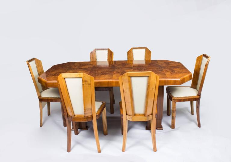 antique art deco burr walnut dining table six chairs circa 10