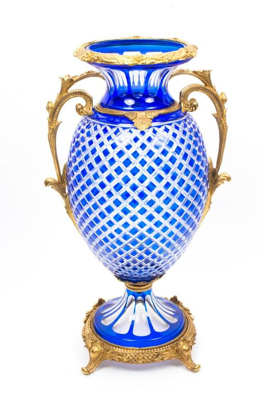 Beautiful Pair Of Blue Cut Crystal Glass And Ormolu Mounted Vases At