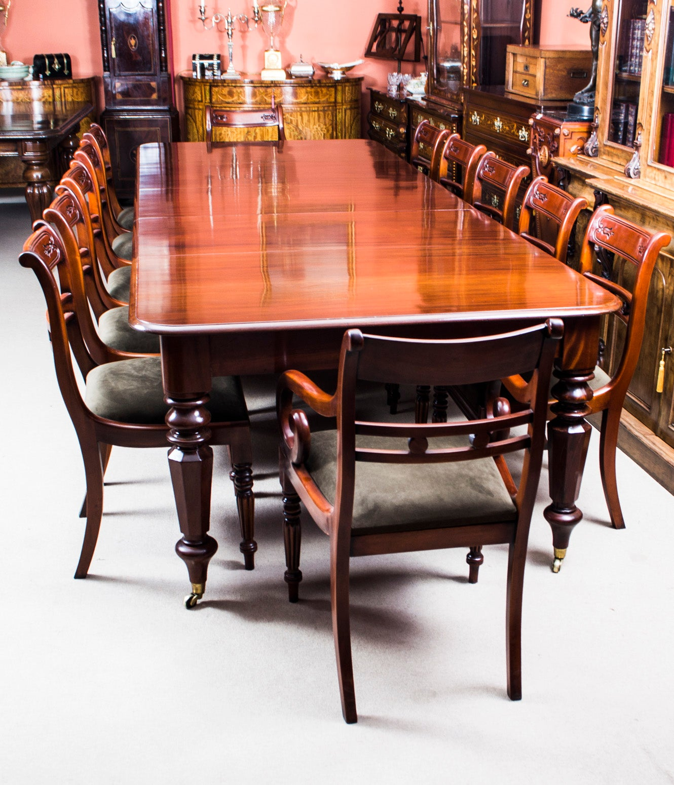 promo code a9e84 ffc0b Antique William IV Mahogany Extending Dining Table and 12 ...