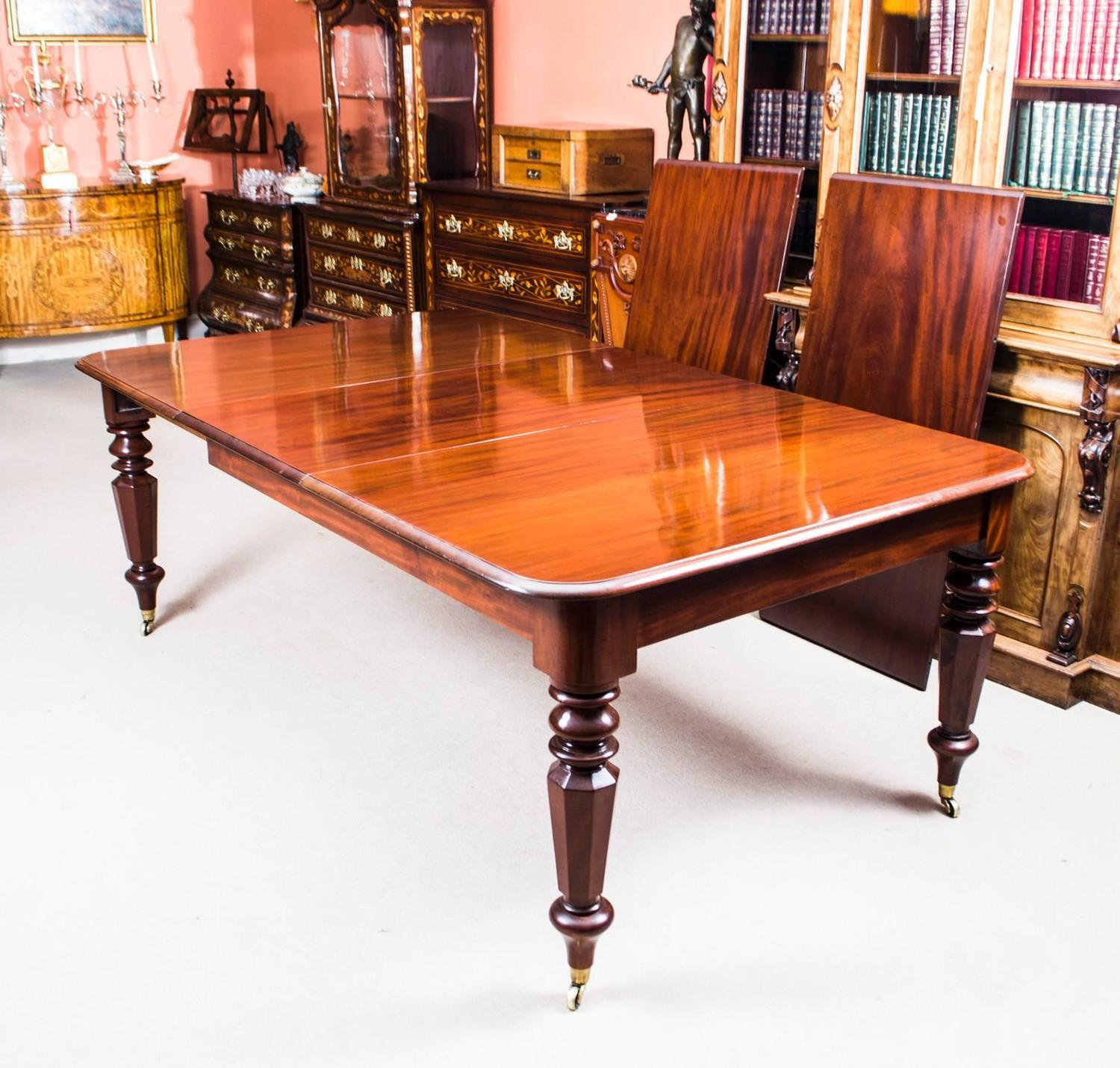 Dining Room Set For 12: Antique William IV Mahogany Extending Dining Table And 12
