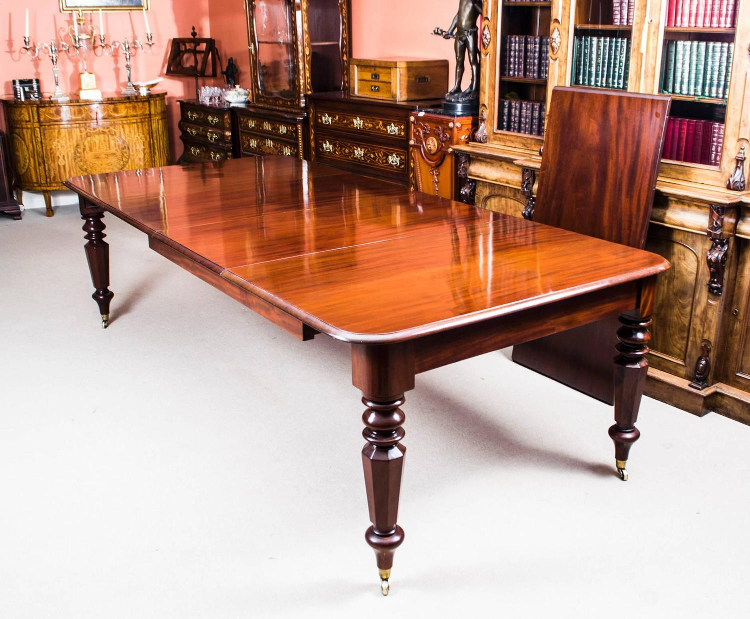 Antique William IV Mahogany Extending Dining Table and 12 ...