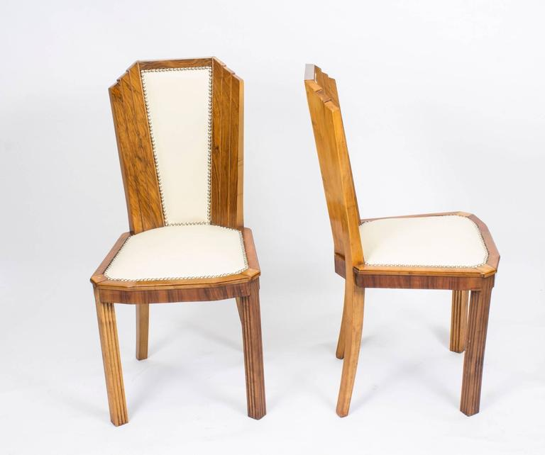 Antique Set Of Six Art Deco Skyscraper Walnut Chairs