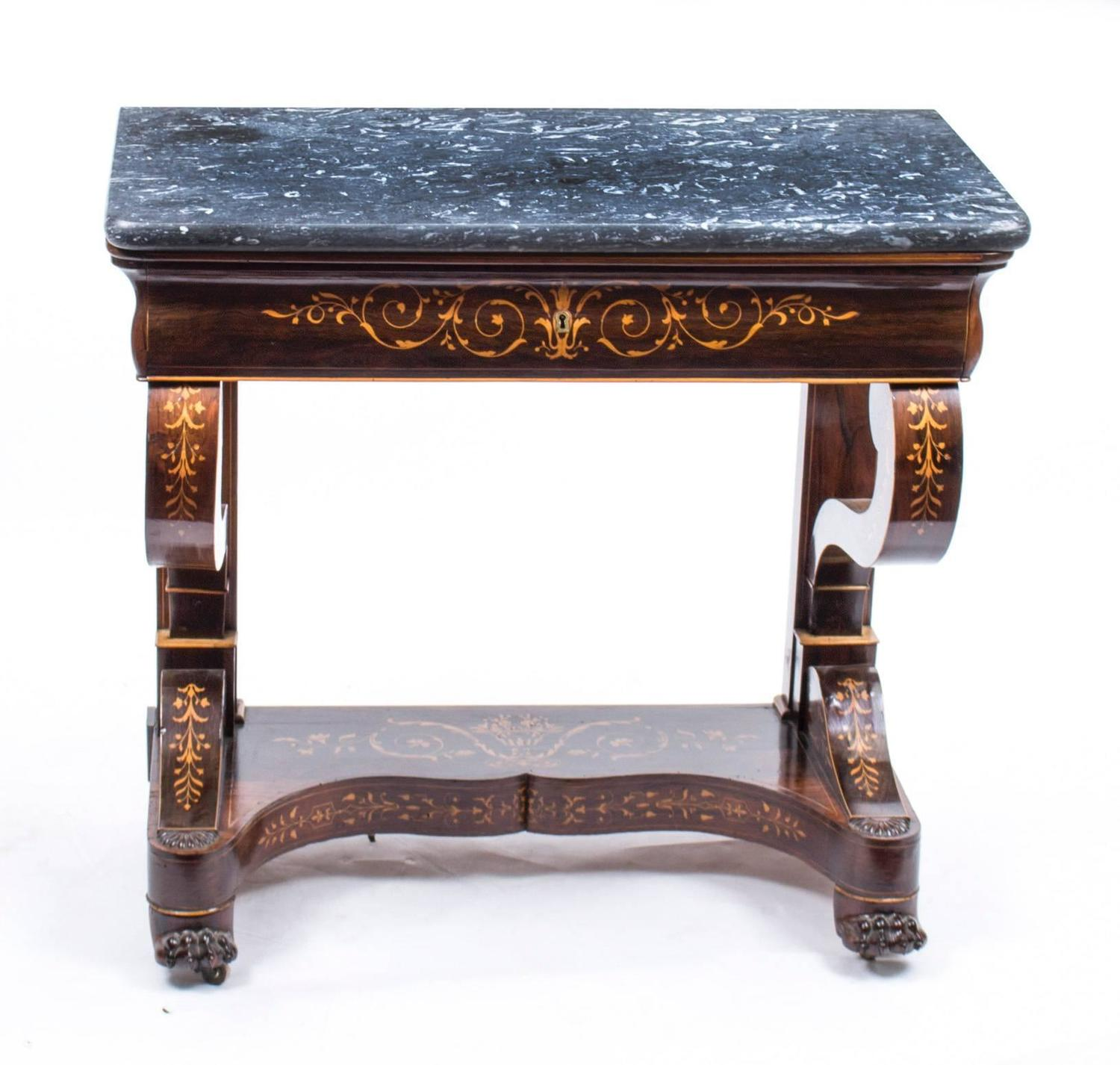 Antique charles x period rosewood inlaid console table for 10 inch depth console table