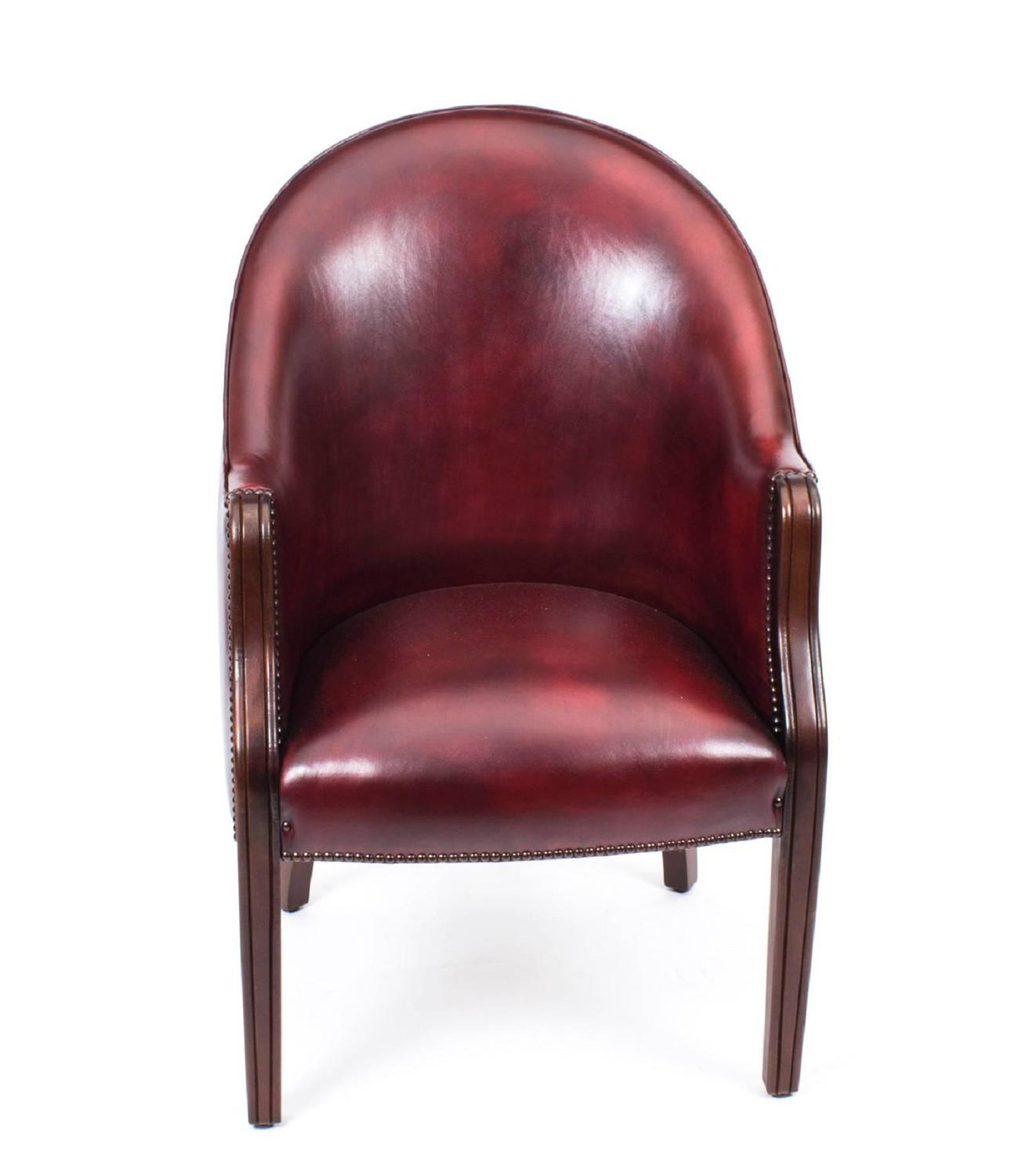 Pair Of English Handmade Leather Desk Chairs Ox Blood For