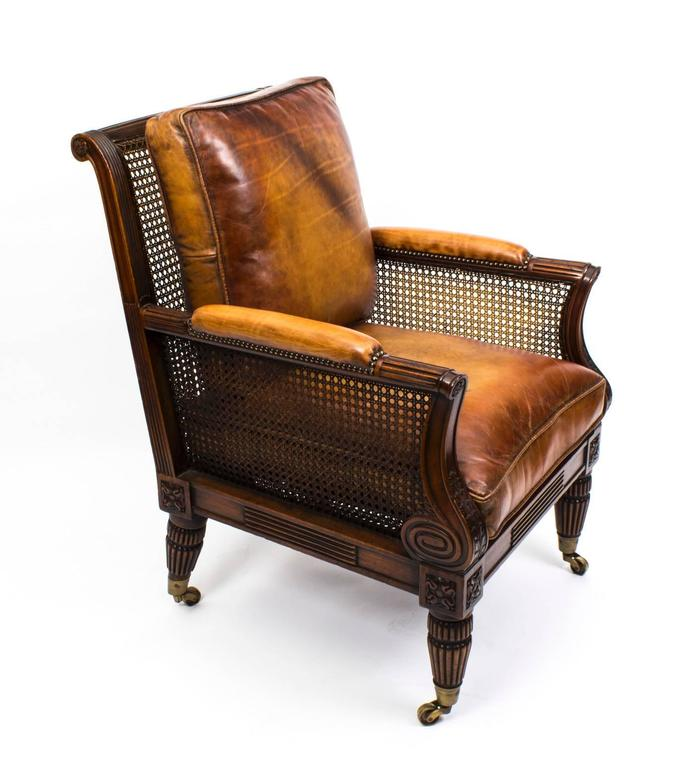 English Pair of Regency Style Mahogany Bergere Armchairs For Sale