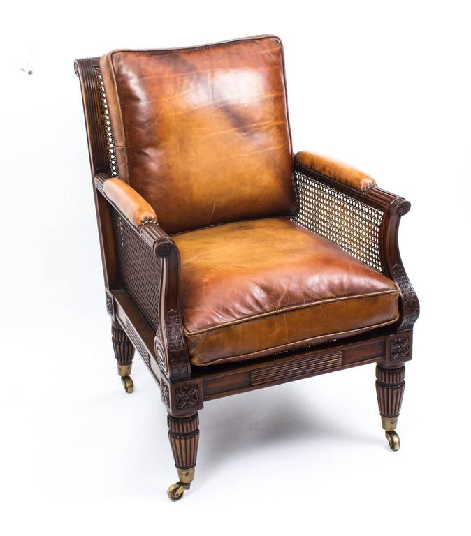 Pair of Regency Style Mahogany Bergere Armchairs In Excellent Condition For Sale In London, GB