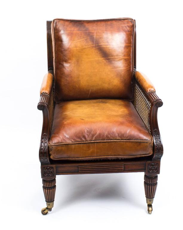 Contemporary Pair of Regency Style Mahogany Bergere Armchairs For Sale