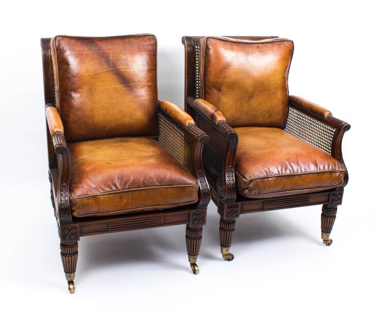 Pair of Regency Style Mahogany Bergere Armchairs For Sale 5