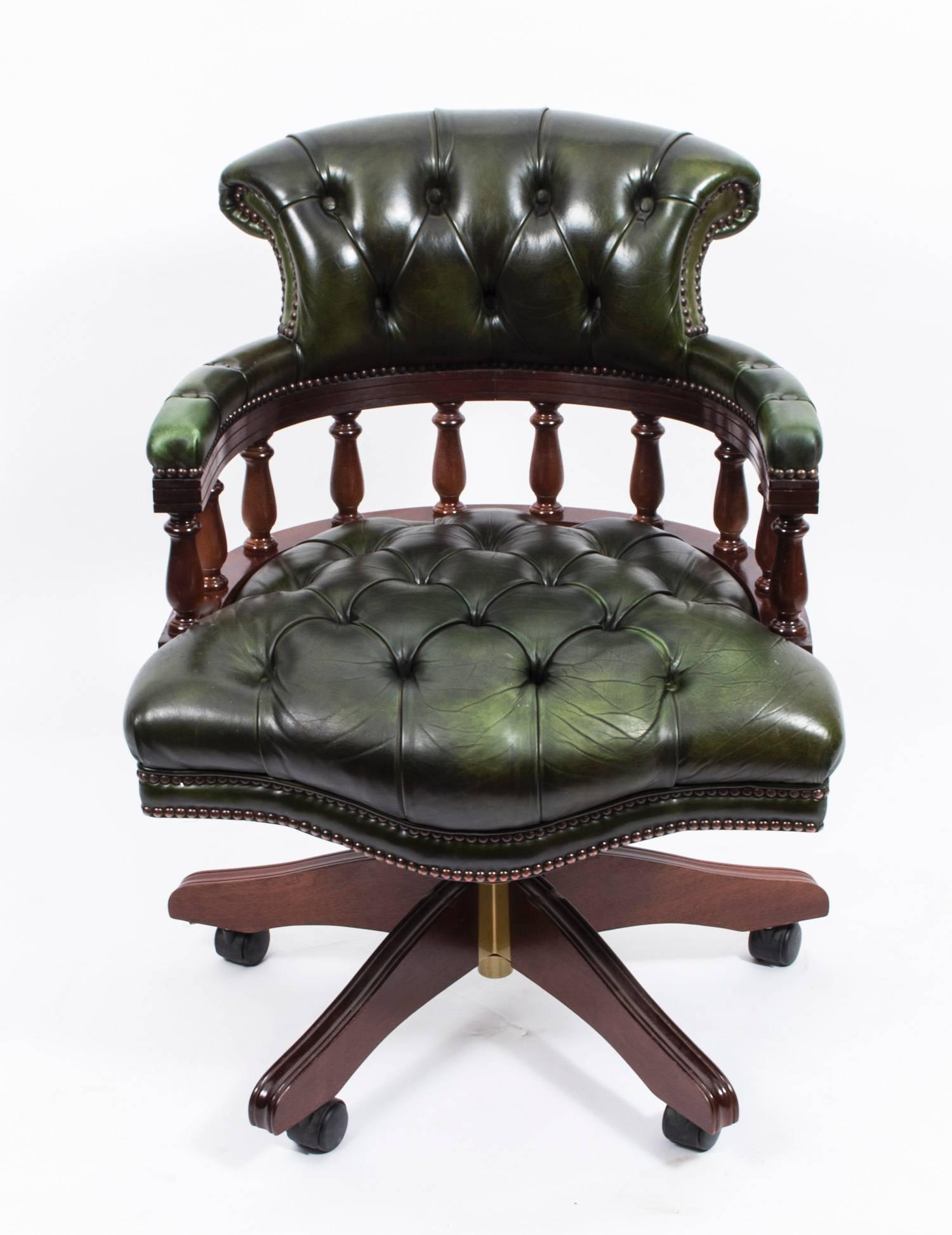 - English Hand Made Leather Captains Desk Chair Green For Sale At 1stdibs