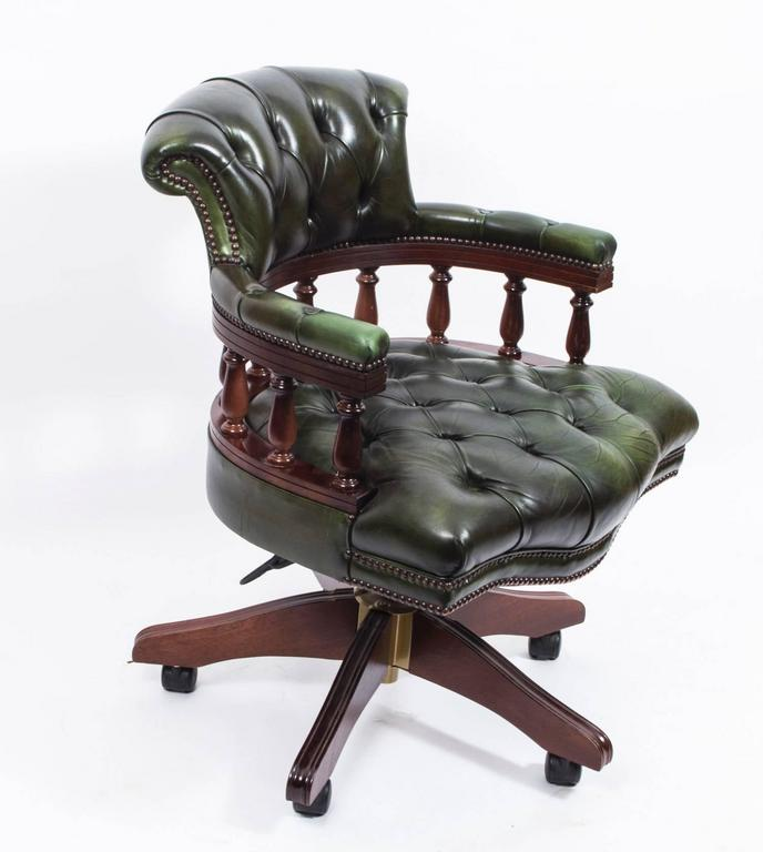 English Handmade Leather Captains Desk Chair Green For