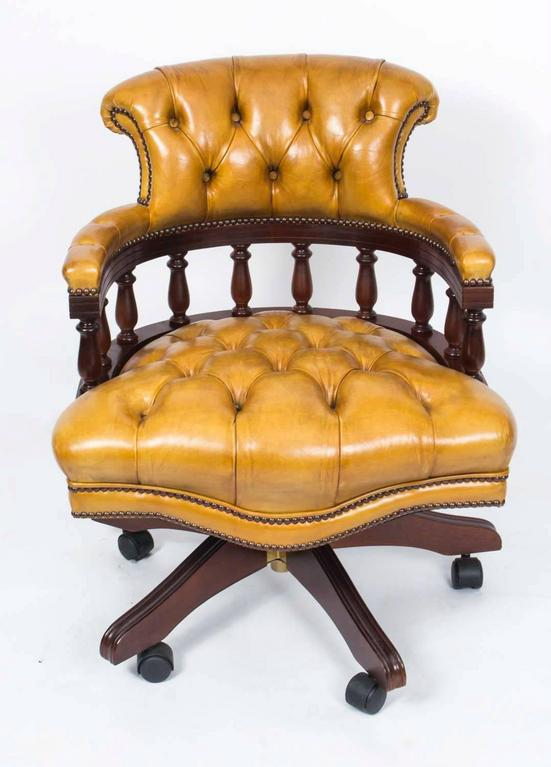 english handmade leather captains desk chair for sale at 1stdibs