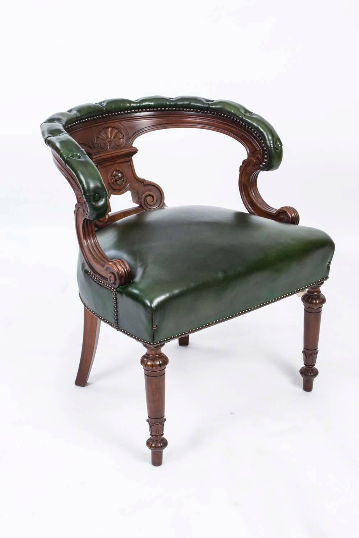 antique victorian walnut desk chair tub chair circa 1870 for sale at