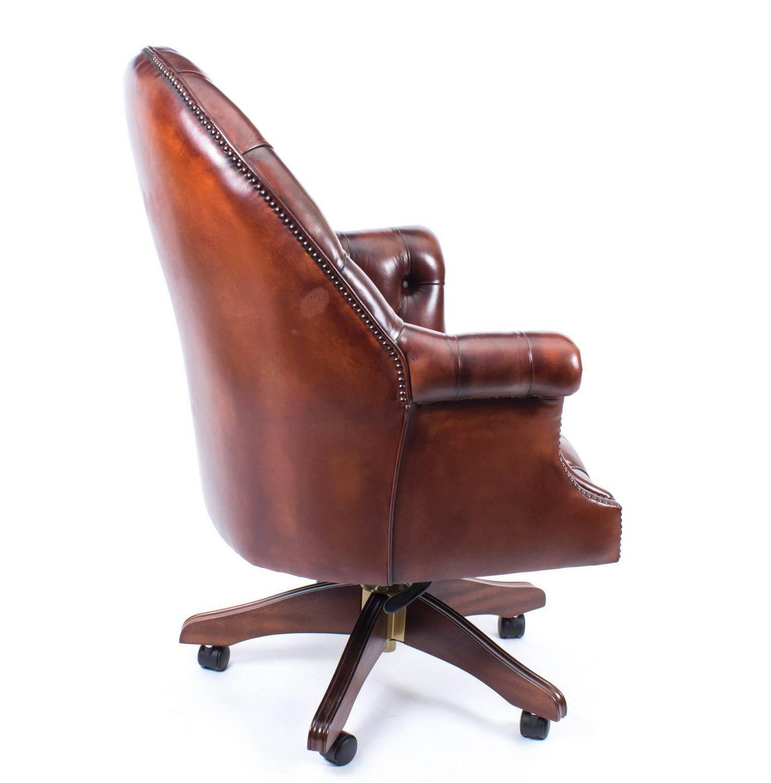 English Handmade Leather Directors Desk Chair BBO At 1stdibs