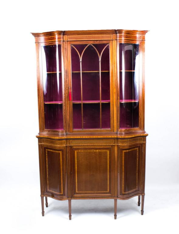Early 20th Century Edwardian Serpentine Inlaid Display Cabinet For Sale 3