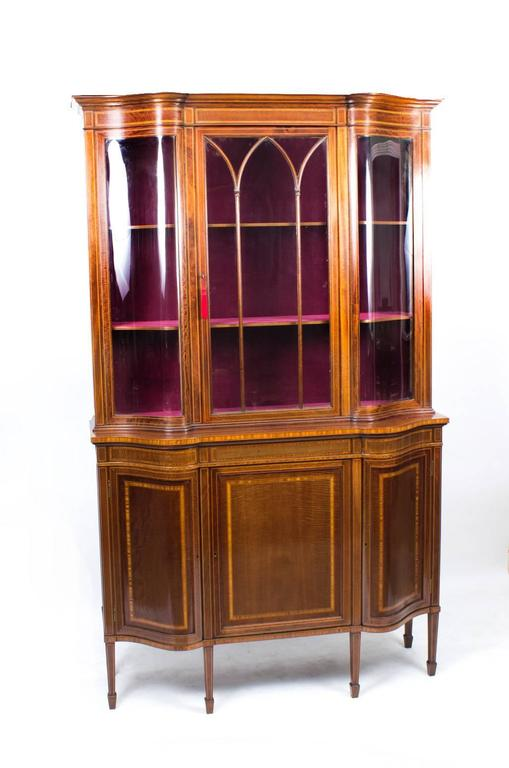 Early 20th Century Edwardian Serpentine Inlaid Display Cabinet For Sale 5