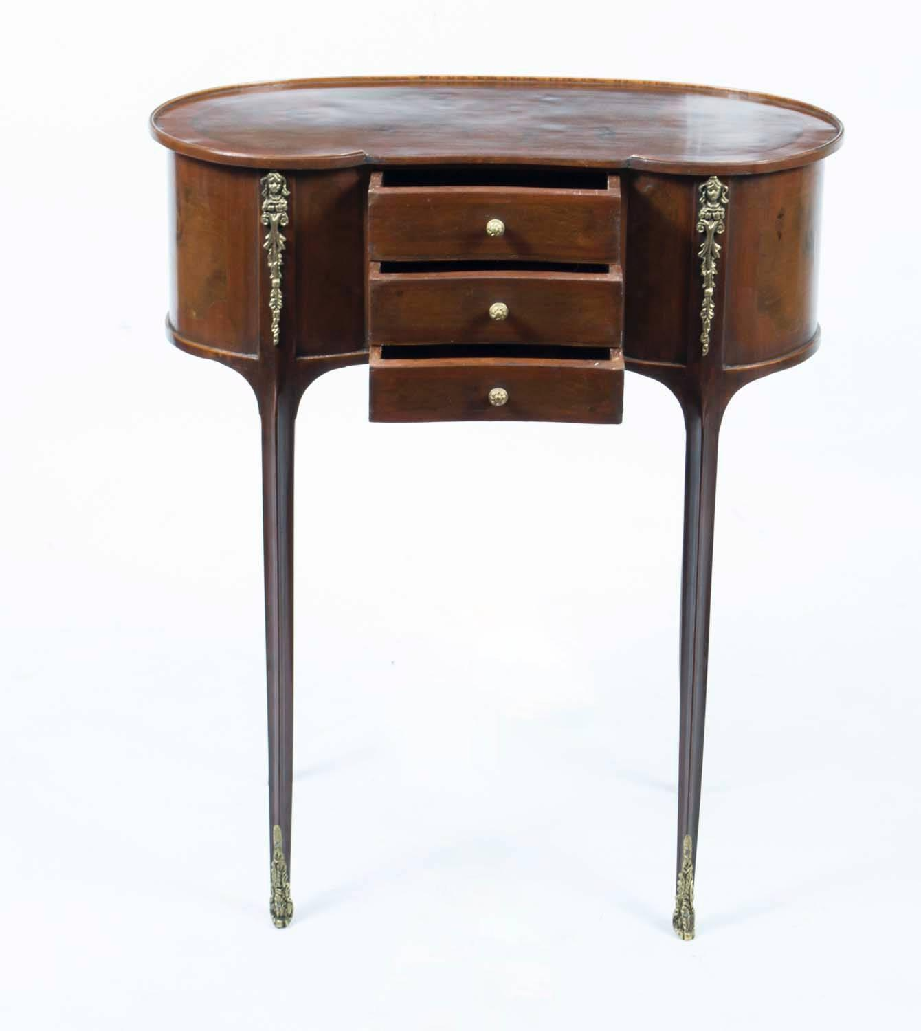 Pair of victorian style walnut kidney bedside side tables for 10 inch wide side table