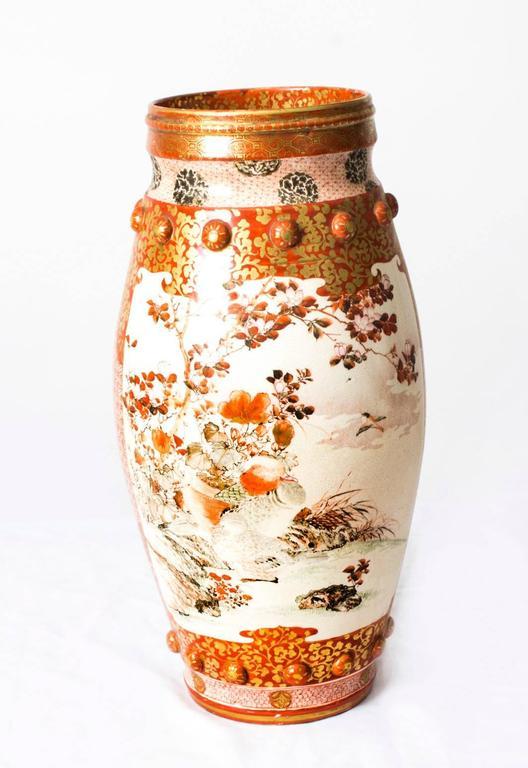 Antique Pair Large Japanese Kutani Porcelain Vases Circa 1900 At