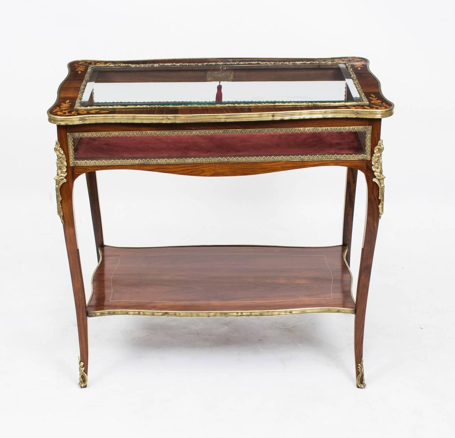 Antique rosewood and marquetry bijouterie display table for Html display table