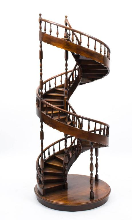 Vintage Mahogany Architectural Model Spiral Staircase At
