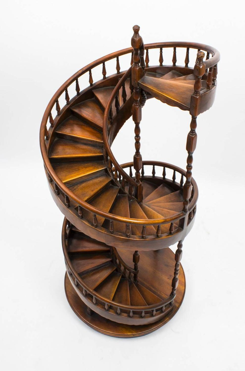 Vintage Mahogany Architectural Model Spiral Staircase For
