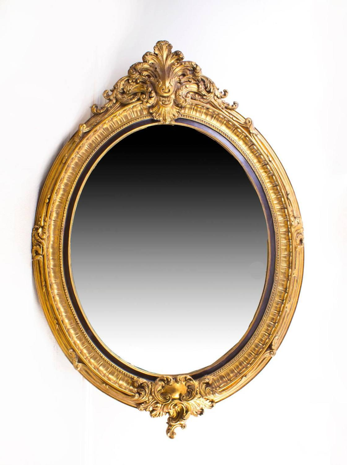 Pair of beautiful large rococo style gilded oval mirrors for Large floor length mirrors for sale