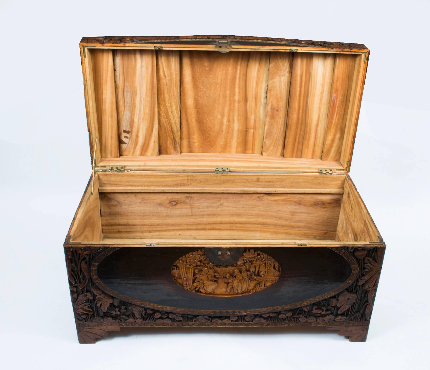 mid 20th century chinese carved camphor wood trunk coffer at 1stdibs - Storage Chest Trunk