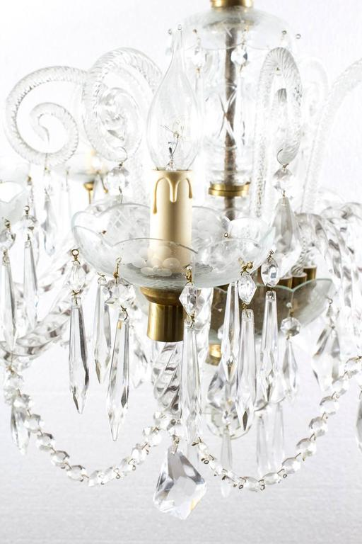 Italian Vintage Venetian Eight-Light Crystal Chandelier For Sale