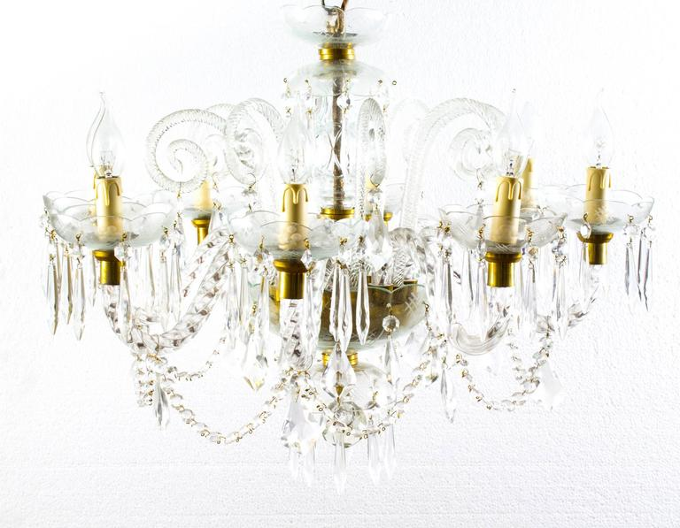 Vintage Venetian Eight-Light Crystal Chandelier For Sale 2