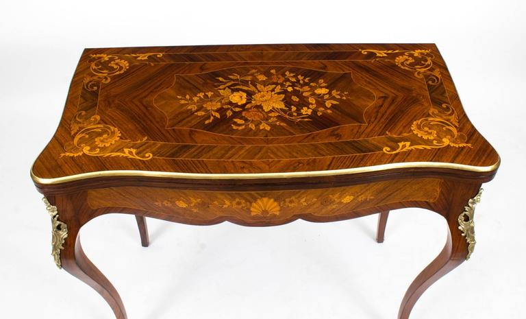 Superb This Is A Stunning Late 19th Century Antique French Burr Walnut And Floral  Marquetry Card Table