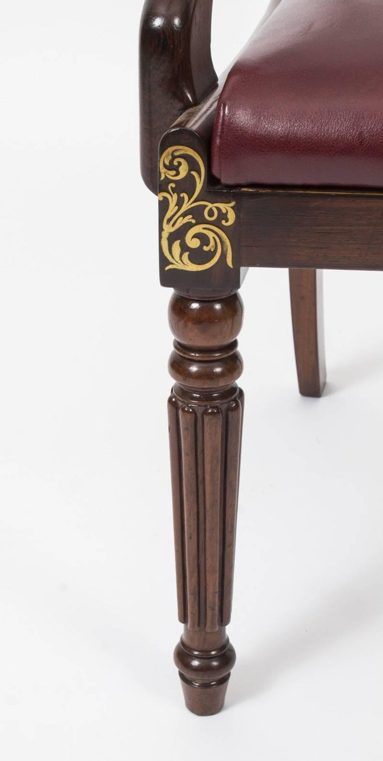 19th Century Regency Brass Marquetry Elbow Chair Armchair For Sale 5