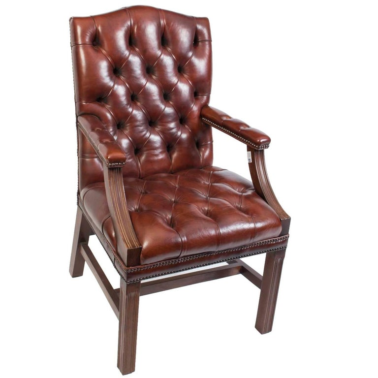 Bespoke English Handmade Gainsborough Leather Desk Chair Chestnut For Sale