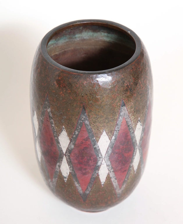 20th Century Claudius Linossier French Art Deco Dinanderie Vase For Sale